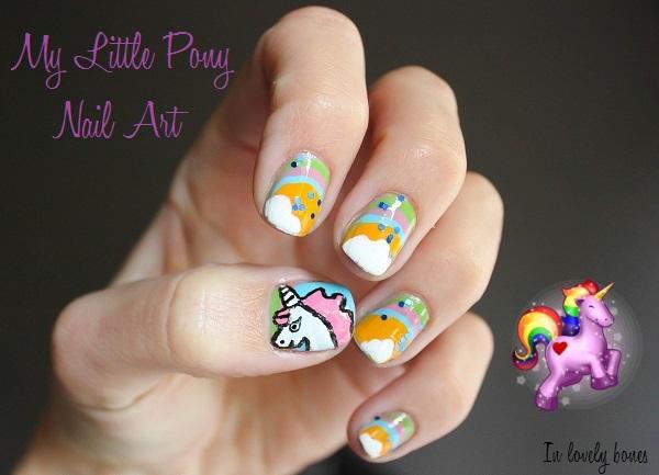 Unicorn Nail Art 3d neon studs nail art